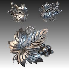 Mexican Sterling Grape Leaf Pin & Earrings Set