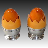Bakelite Eggs in Shell Salt & Pepper Shakers Sterling Base