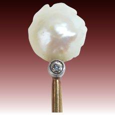 Victorian Natural Baroque Pearl 14k Stickpin w Diamond