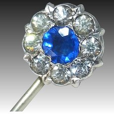 Antique Costume Stickpin Blue & Clear Paste Stones