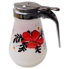 Frosted Glass Hand Painted Flowers Syrup Dispenser Bottle