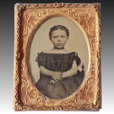 Victorian Tin Type Under Glass in Double Layer Ornate Gold Metal Frame