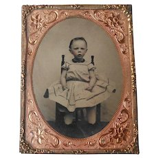 Victorian Tin Type in Double Layer Ornate Gold Metal Frame