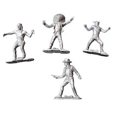 Set of 4 Lone Star Lead Figurines Wyatt Earp Cowboy fighting 3 Indians