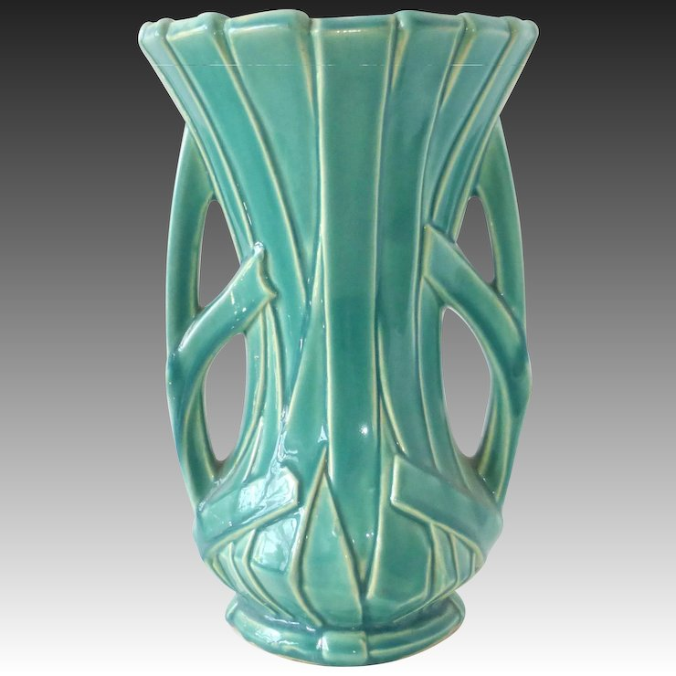 Mccoy Large Turquoise Green 12 Strap Vase Bejewelled Ruby Lane