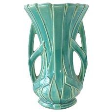 "McCoy Large Turquoise - Green 12"" ""Strap"" Vase"