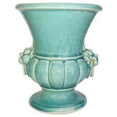 McCoy Aqua Blue Vase w Fruit Handles