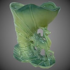 Rare McCoy Deer & Cornucopia Chartreuse Ceramic Vase