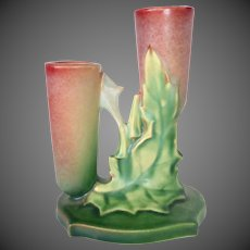 Roseville Pottery Thornapple Series Rare 1930s Double Bud Vase