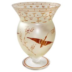 Frosted Glass Vase w Hand Painted Asian Style Birds & Branches