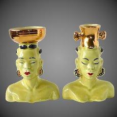 Exotic Pair of Native African Blackamoor Head Vases