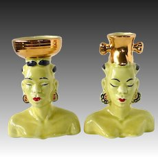 Exotic Pair of Native African Blackamoor Head Vases