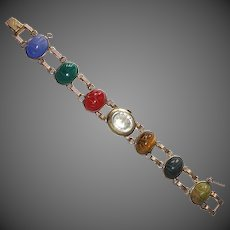 Gold Filled Stone Scarab Watch Band Bracelet
