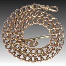 14k Rose Gold Heavy Curb Link Watch Chain