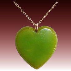 Green EOD Bakelite Heart Pendant GF Chain