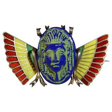 Egyptian Revival 800 Silver & Enamel Pin Winged Scarab w Molded Glass Pharaoh