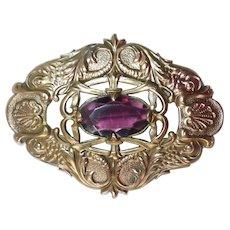 Victorian Ornate Embossed Bronze Sash Ornament Brooch Amethyst Glass Jewel