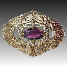 Victorian Ornate Embossed Bronze Sash Ornament Brooch Amethyst Glass Jewel