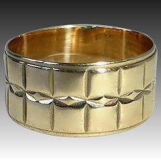 14k Op Art Geometric Patterned Wide Band Ring