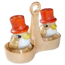 Lustreware Birds in Top Hats Salt & Pepper Shakers in Carriage