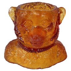 Funky Amber Pressed Glass Monkey Toothpick Holder