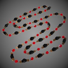Art Deco Faceted Red & Black Glass & Brass Bead Long Necklace