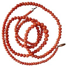Victorian Long Natural Coral Bead Necklace