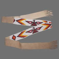 Southwest Themed Double Sided Beaded Leather Belt