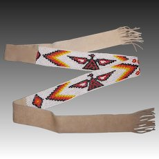 Southwest Themed Double Sided Beaded Leather Belt