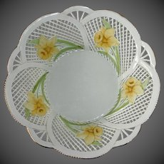 Fine Porcelain Romanian Lace Ware Bowl w Hand Painted Daffodils