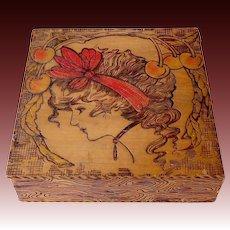 Flemish Pyrography Folk Art Burnt Wood Art Nouveau Gibson Girl Box
