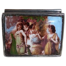 Sterling Enamel Top Renaissance Painting Pill Box
