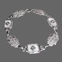 Art Deco 14k Filigree & Camphor Crystal Panel Bracelet w Diamonds
