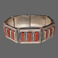 935 Sterling & Coral Heavy Panel Link Palestine Bracelet