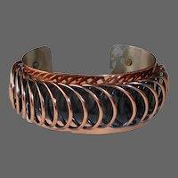 Renoir Copper Wide Sculptural Wire Spiral Cuff Bracelet