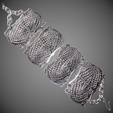 Pressed Aluminum Faux Marcasite Wide Panel Bracelet