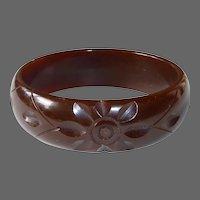 Chunky Bakelite Carved Bangle Bracelet Dark Chocolate Brown