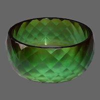 Bakelite Faceted Green Prystal X Wide Bangle Bracelet