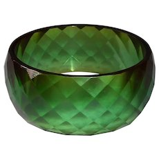 Bakelite Faceted Green Prystal X Wide Bangle Bracelet