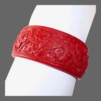 Cinnabar Wide Carved Bangle Bracelet Dragon Design