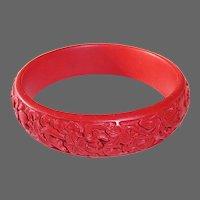 Cinnabar Carved Bangle Bracelet Floral Design