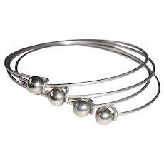 Set of Four Sterling Hook & Ball Bangle Bracelets