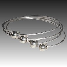 Set of Four Sterling Hook & Ball Bangle Bracelets