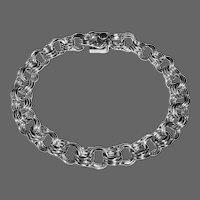 Sterling Silver Triple Link Starter Charm Bracelet