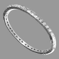 Art Deco Sterling & Paste Hinged Bracelet