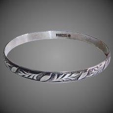 Danecraft Felch Sterling Bangle Bracelet Embossed Leaf Pattern