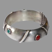 Mexican Domed Sterling Hinged Bangle Bracelet w 6 Cabochons