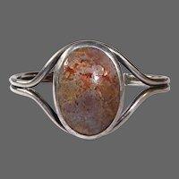Handcrafted Sterling Split Band Cuff Bracelet w Agate