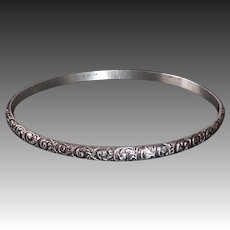 Sterling Bangle Bracelet Deeply Embossed Design