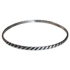 Sterling Diagonal Rope Pattern Bangle Bracelet